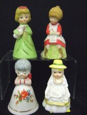 Lot 4 Ceramic figural Bells all girls Hand Painted