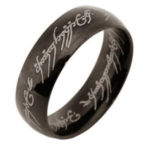 Black Mens Jewelry Band Ring Man Rings Stainless Steel Fashion Accessory Size 8