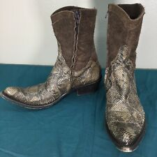 Used Gianni Barbato Snakeskin Womens Western Cowgirl Ankle Booties sz 37.5