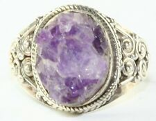 STERLING SILVER NATURAL AMETHYST UNCUT GEODE RING SIZE 8