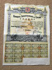 Banque Industrielle De Chine, 1913 Bearer Share Certificate, aEF