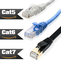 NEW 6FT-100FT Cat 7 Cat 6 Cat 5e Snagless Ethernet Patch Cable Pack of 1 3 5 10