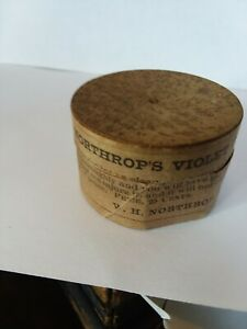1800s Northrops Violet Ink Powder And Wood Container