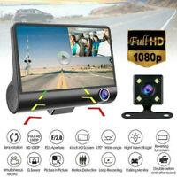 4'' HD 1080P DVR Dash Cam Vehicle Video Recorder Rearview Camera G-sensor 3 Lens