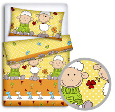 BABY BEDDING FIT CRIB SET 70x80cm PILLOWCASE DUVET COVER 2PC Sheep Yellow