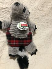 "Dan Dee Plush 7"" Dog Toy Squeaker Raccoon Plaid Gray Petshoppe"
