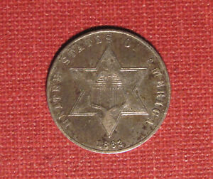 1862 SILVER 3-CENT PIECE (TRIME) - NICE DETAILS, GOOD CONDITION, VARIETY 3!