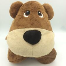 Stuffies BRAVO BROWN BEAR Large 20 inch Plush 7 Hidden Pockets zipper mouth