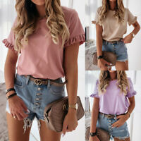 Women's Frill Short Sleeve Tops Tee Ladies Loose Solid Round Neck Blouse T-Shirt