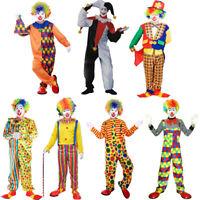 Adult Evil Jester Clown Costume Halloween Xmas Masquerade Festival Fancy Dress
