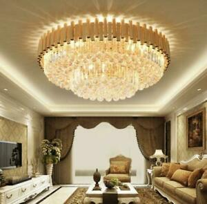 modern dimmable light luxury crystal ceiling lamp remote LED round chandelier