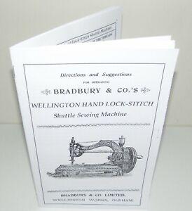 Bradbury Wellington  Sewing Machine Instruction manual reproduction