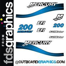 Mercury 200hp 2 stroke Saltwater EFI outboard decals/sticker kit