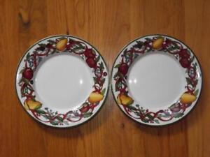 "2 Dansk Holiday Harvest Bread Butter Plates EXC 7 1/4"""