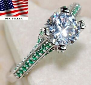 2CT Emerald & Topaz 925 Solid  Sterling Silver Ring Jewelry Sz 8