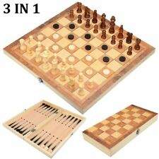 Wooden International Chess Set Board Travel Games Backgammon Entertainment Hobby