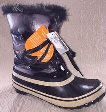 SPORTO Women 7 Snow Duck Boots Rain Rubber Waterproof Grey Navy Plaid Lined Fur