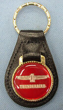 Vintage Red THUNDERBIRD Large Emblem Black Leather Ford T Bird Goldtone Keyring