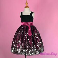 Glittering Black Purple Wedding Flower Girl Dress Pageant Party Size 7-8 FG247