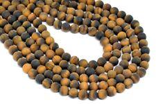 """4MM Natural Matte Yellow Tiger Eye Gemstone Beads Grade A Round Loose Beads 15"""""""