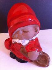 "Sweden jie Cantofta Brown Stoneware White Red Santa Gnome Elf FIGURINE 3""tall"
