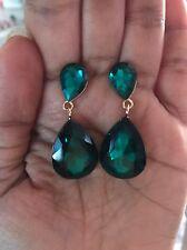 """1.75"""" Dark Green Emerald Gold Long Teardrop Crystal Pageant Bridal Earrings"""