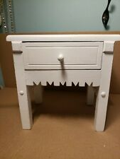 """Small White Wooden Display Table With Drawer 9""""H×8""""W"""