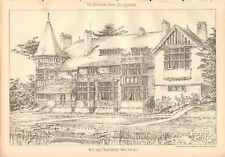 1902  ANTIQUE PRINT- ARCHITECTURE - BERKSHIRE - WEST COURT MAIDENHEAD
