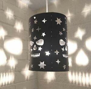 lampshade light shade GIRL BOY star stars BLACK small bedroom SKULL projection