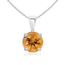 """Round Citrine Solitaire Pendant Necklace With 18"""" Chain 925 Sterling Silver"""
