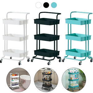 3 Tier Slim Salon Kitchen Storage Trolley Cart Metal Rack Tray Rolling On Wheel