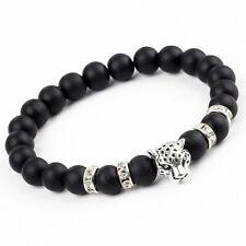 Leopard Lava Stone Silver & Crystal Bead Bracelet