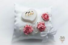 wedding ring pillow cushion engagement ring holder coral  P33 oreiller annea