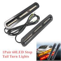 2x 60 LED Car DRL Light Bar Brake Flowing Turn Signal Stop Tail Strip Lamp Truck
