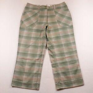 Nike Golf Capri Pants Womens Size 10 Medium Waist 30 Inseam 21 Green Plaid
