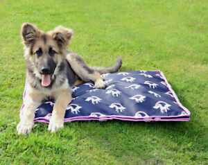 Hy Unicorn Print Easy Clean Waterproof Nylon Ripstop Comfy Dog Bed Mat Navy/Pink