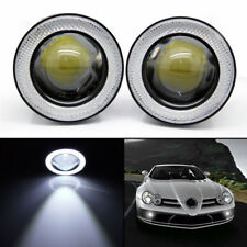 "2x 3.5"" Round LED Fog Light Projector Lamp Bright White Angel Eyes DRL Halo Ring"