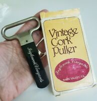 Vintage Cork Puller Black Plastic Sheath in Box Inglenook Vineyards Advertising