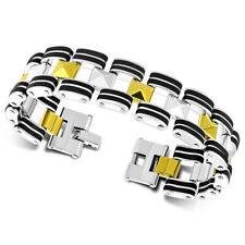 "Stainless Steel Silver-Tone Gold-Tone Black Link Chain Men's Bracelet, 8"""