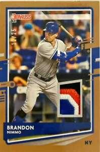 2020 Donruss Materials #DM-BN BRANDON NIMMO  Gold MEM /25 New York Mets