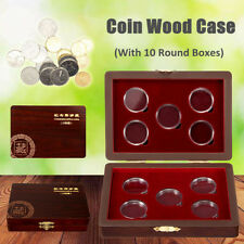 10Coin Wood Case Display Box Wooden Storage Holder Collection Round Capsule
