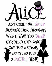 "Alice in Wonderland ""Rabbit Hole"" Typography Decorative Vinyl Wall Sticker"