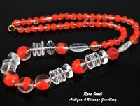 ART DECO GLASS BEAD NECKLACE BRIGHT RED DETAIL VINTAGE JEWELLERY
