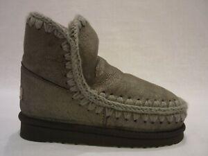 MOU MU FW101001B ESKIMO 18 CM  boot donna in pelle scamosciata grigio laminato