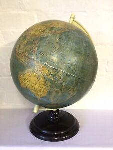 """Org Vintage 1950s 13"""" East German GDR Terrestrial Globe Bakelite Stand Krause"""