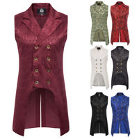 Men Coat Vintage Steampunk Tailcoat Jacket Gothic Victorian Sleeveless Vest Coat