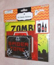 8 Count Bottle Stickers - Halloween Themed Spider Tonic, etc.- Brand NEW in Pkg.