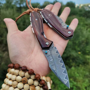 VG10 DAMASCUS FOLDING KNIFE POCKET TOOL CAMPING SURVIVAL RESCUE ROSEWOOD BLACK