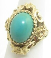 ESTATE 14K YELLOW GOLD 14.5x11MM TURQUOISE RING 9.6 GRAMS SIZE 6.25