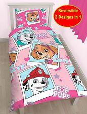 NEW PAW PATROL STARS SINGLE DUVET QUILT COVER BEDDING SET GIRLS PINK BEDROOM